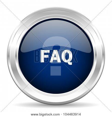 faq cirle glossy dark blue web icon on white background