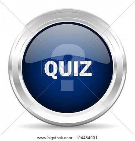 quiz cirle glossy dark blue web icon on white background