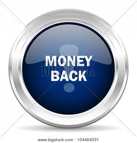 money back cirle glossy dark blue web icon on white background
