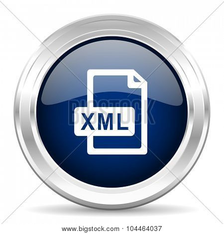 xml file cirle glossy dark blue web icon on white background