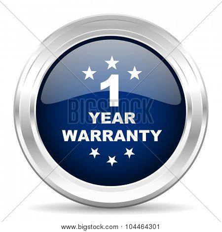 warranty guarantee 1 year cirle glossy dark blue web icon on white background