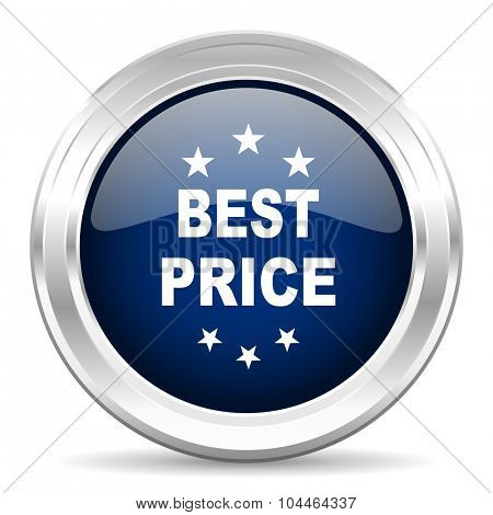 best price cirle glossy dark blue web icon on white background