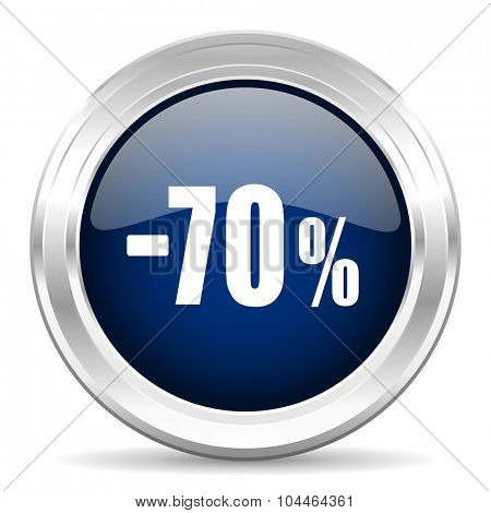 70 percent sale retail cirle glossy dark blue web icon on white background