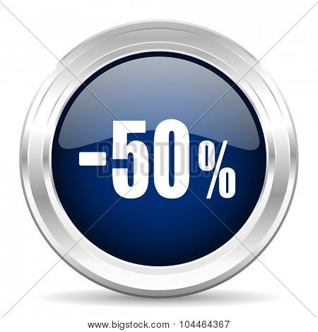 50 percent sale retail cirle glossy dark blue web icon on white background