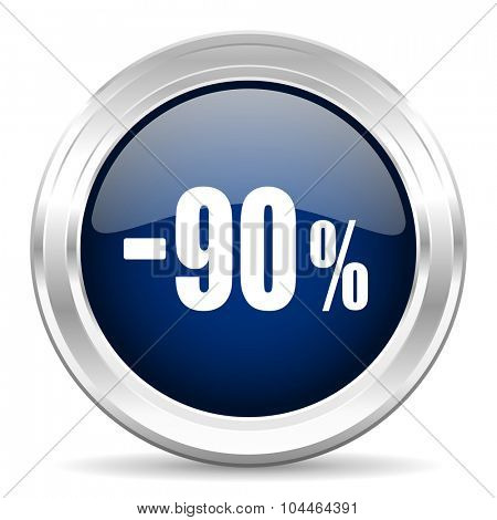 90 percent sale retail cirle glossy dark blue web icon on white background