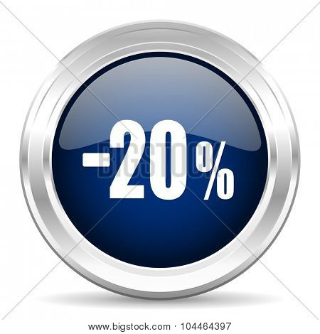 20 percent sale retail cirle glossy dark blue web icon on white background
