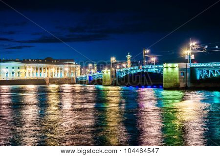 Beautiful night view of Saint-Petersburg, Russia