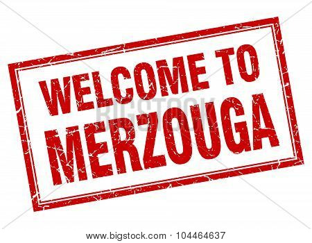 Merzouga Red Square Grunge Welcome Isolated Stamp