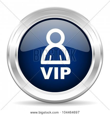 vip cirle glossy dark blue web icon on white background