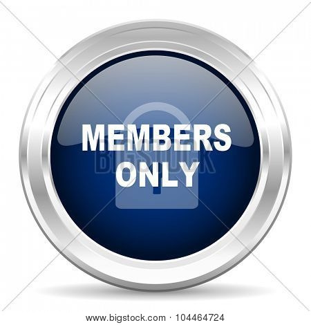 members only cirle glossy dark blue web icon on white background