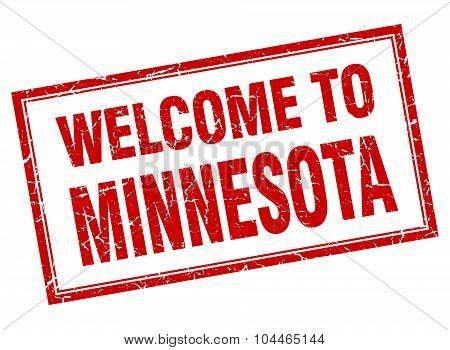 Minnesota Red Square Grunge Welcome Isolated Stamp