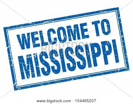 Mississippi Blue Square Grunge Welcome Isolated Stamp