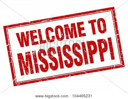 Mississippi Red Square Grunge Welcome Isolated Stamp