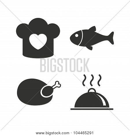 Chief hat, cooking pan icons. Fish and chicken.