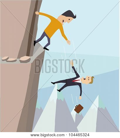 the metaphor of risk. A businessman fell into the abyss.