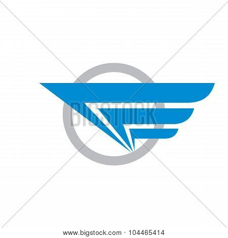 Wing and circle - vector logo concept illustration. Abstract wing logo. Transport logo. Travel logo.