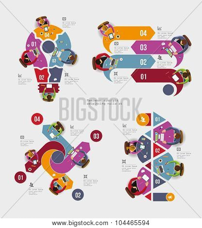 Infographic Elements - Top View on Arrows with People. Vector illustration.