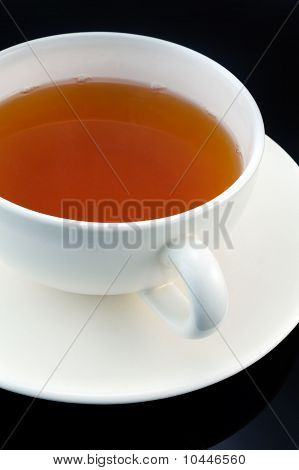 Cup Of Tea On Black Bacground