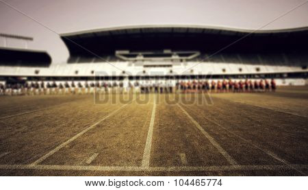 American football field with the two team - retro styled photo