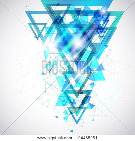 Blue Abstract Background Of Hexagon And Triangle Geometric Geometry Polygon And Element Shape For Po