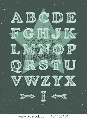 Grunge alphabet. Vector illustration in distressed style.