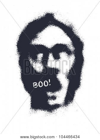 zombie head hand drawn vector background.