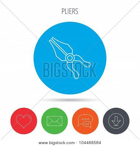 Pliers icon. Repairing fix tool sign.