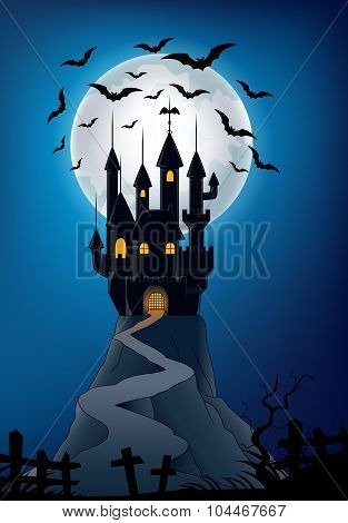 Halloween background with haunted castle