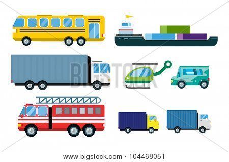 Transport delivery vector trucks isolated on white. Transportation cars, bus, truck, van, fire truck, city cars, helicopter, mini car, van truck. Delivery van vector silhouette. Vector car icons