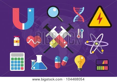 Science lab icons isolated. Science vector icons set. Education, laboratory icon, lab icons, science icons, microscope. Molecular symbols, atom, planet, chemistry vector icons. Technology vector icons