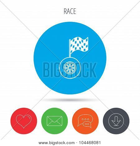 Race icon. Wheel with racing flag sign.