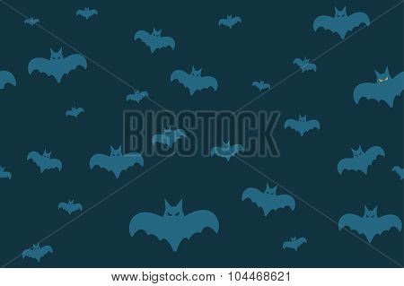 Halloween vector background seamless pattern. Bats flying.
