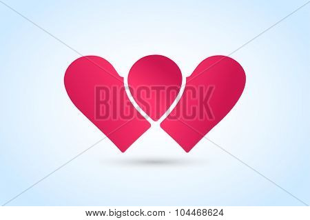 Heart icons vector logo. Togetherness concept.