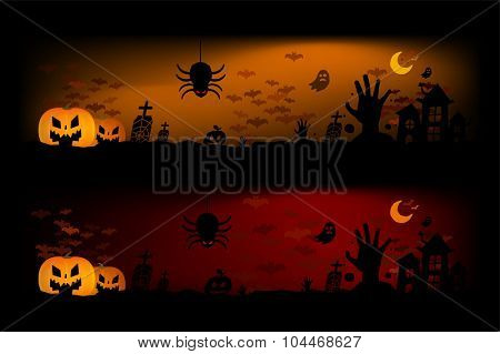 Halloween vector background banners. Pumpkin head, zombie hand, halloween symbols. Halloween silhouette for halloween party flyer invite card design.