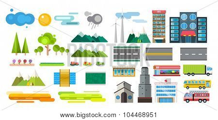 Buildings and city transport flat style illustration. Flat design city downtown background.