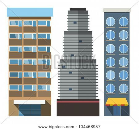 Vector buildings set. Skyscrappers, small house isolated on white background. Bank, market, hospital and hotel, church, shop. City constructor design elements, skyscraper vector, buildings vector