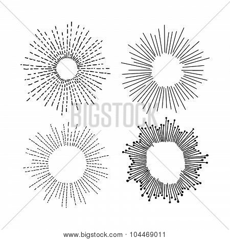 Illustration Vector Hand Drawn Doodle Set Of Starburst  Isolated On White Background.