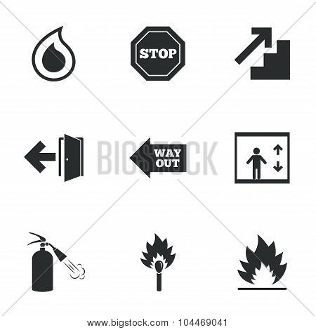 Fire safety, emergency icons. Extinguisher sign.