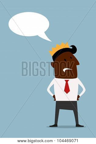 Black businessman in crown with speech bubble