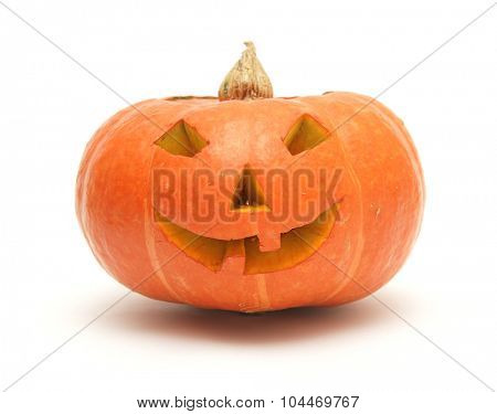 orange pumpkin lantern isolated on white
