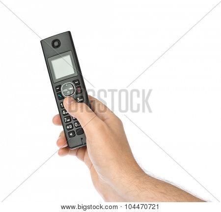 Hand with wireless radio telephone isolated on white background