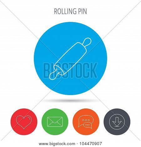 Rolling pin icon. Kitchen baker roller sign.