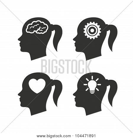 Head with brain icon.Female woman symbols.