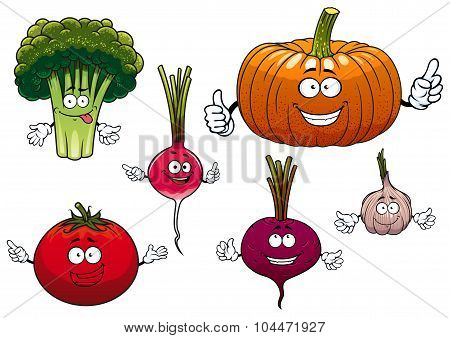 Cartoon isolated funny vegetable characters