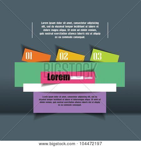options number banner design. Vector illustration modern template design. Cutout lines. origami design