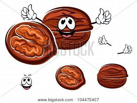 Happy brown cartoon walnut character