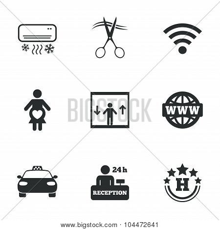 Hotel, apartment service icons. Barbershop sign.