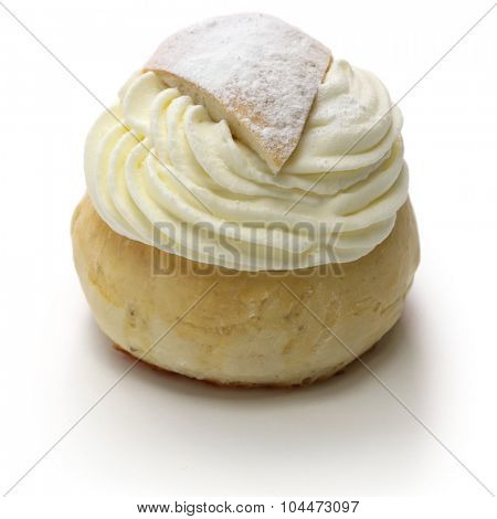 homemade semla, swedish sweet roll isolated on white background