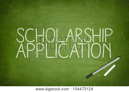 Scholarship application concept on blackboard
