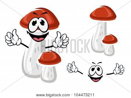 Birch bolete mushroom cartoon character